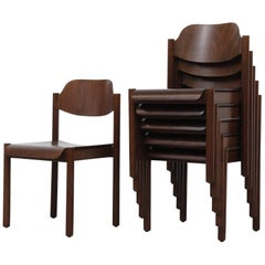Walnut Toned Vico Magistretti Style Stacking Chairs
