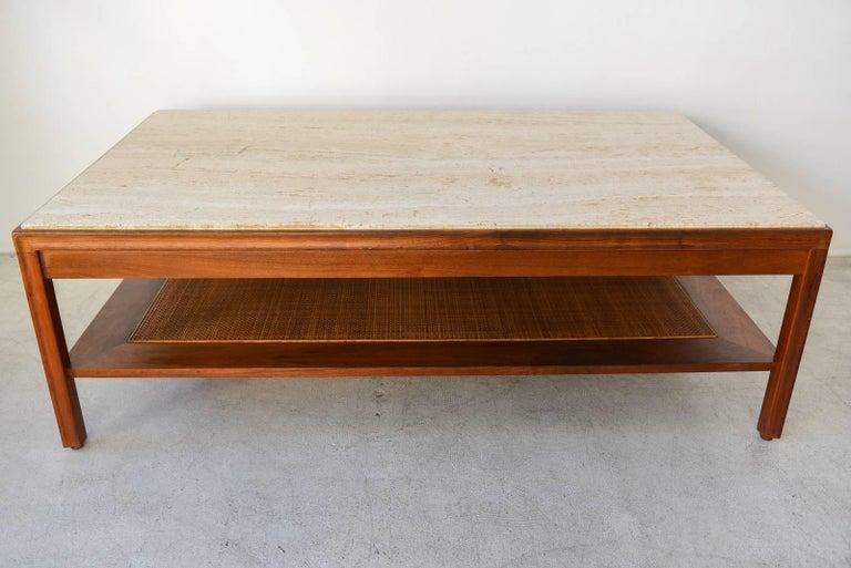 Mid-Century Modern Walnut, Travertine and Cane Coffee Table by Gerry Zanck, circa 1957