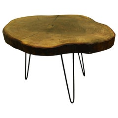 Walnut Tree Live Edge Coffee Table with Hairpin Legs / LECT107