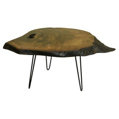 Walnut Tree Live Edge Coffee Table with Hairpin Legs / LECT130