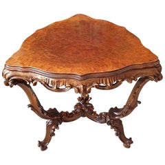 Walnut Triangular Auxiliary Table in Rococo Revival Style