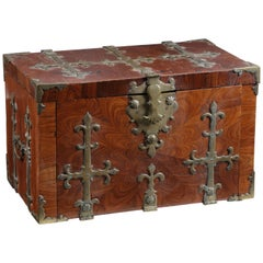 Walnut Veneer on Oak Strong Box 'Coffre Fort' or 'Captain's Chest, 17th Century