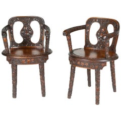 Walnut Vineyard Hall Chairs with Fine Carvings of Vines & Grapes