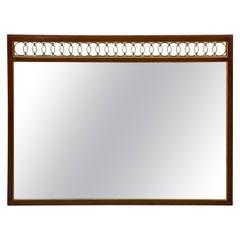Walnut Wall Mirror with Brass Rings