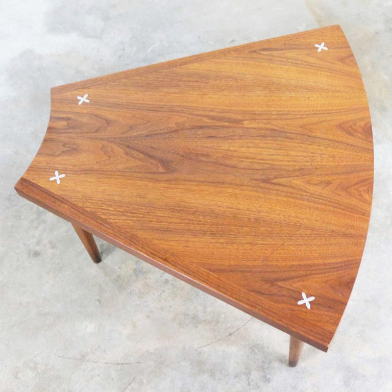 Walnut Wedge Shape End Table Attributed to Merton Gershun for American of Martin 4