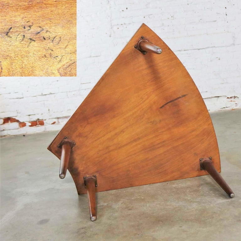 Walnut Wedge Shape End Table Attributed to Merton Gershun for American of Martin 6
