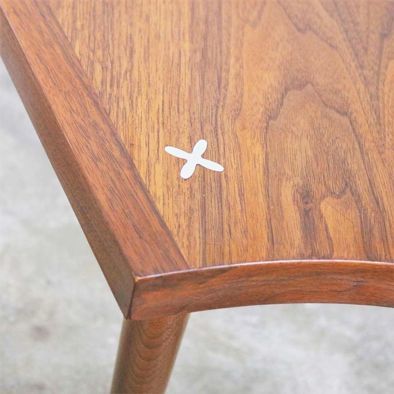 Walnut Wedge Shape End Table Attributed to Merton Gershun for American of Martin 7