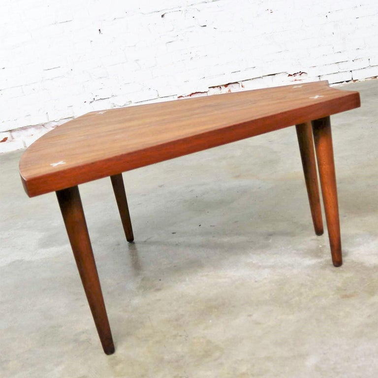 Inlay Walnut Wedge Shape End Table Attributed to Merton Gershun for American of Martin