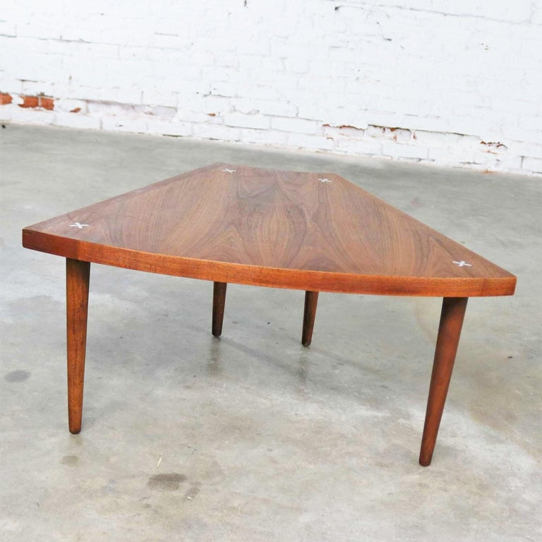 Walnut Wedge Shape End Table Attributed to Merton Gershun for American of Martin 1