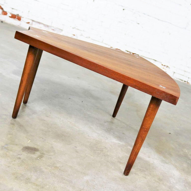 Walnut Wedge Shape End Table Attributed to Merton Gershun for American of Martin 2