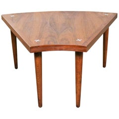 Walnut Wedge Shape End Table Attributed to Merton Gershun for American of Martin
