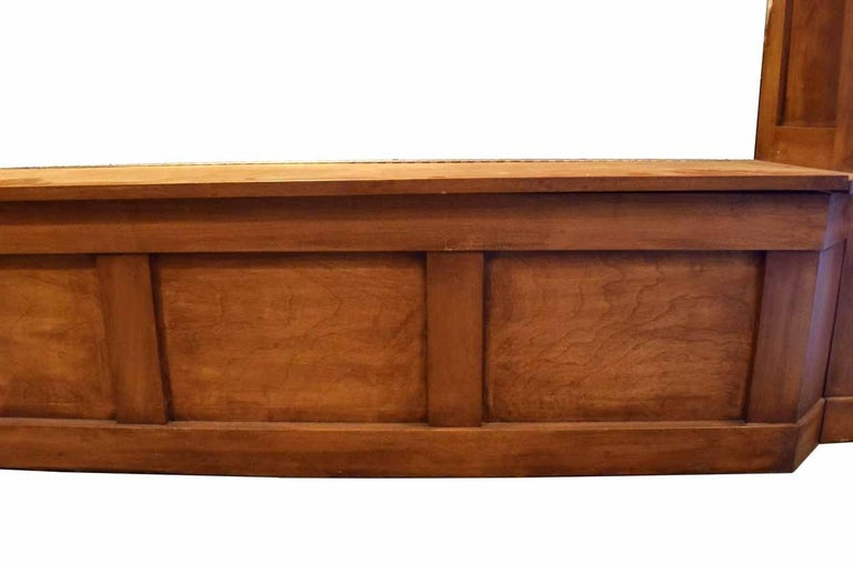 Walnut Window Seat with Storage and End Posts For Sale 2