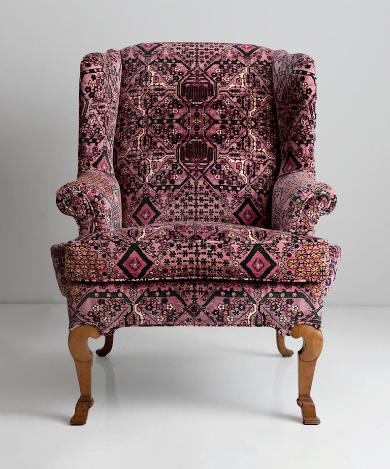 English Walnut Wing Chair in 100% Cotton Velvet from House of Hackney For Sale