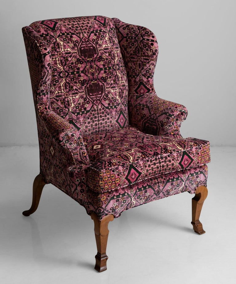 Walnut wing chair in 100% cotton velvet from House of Hackney.