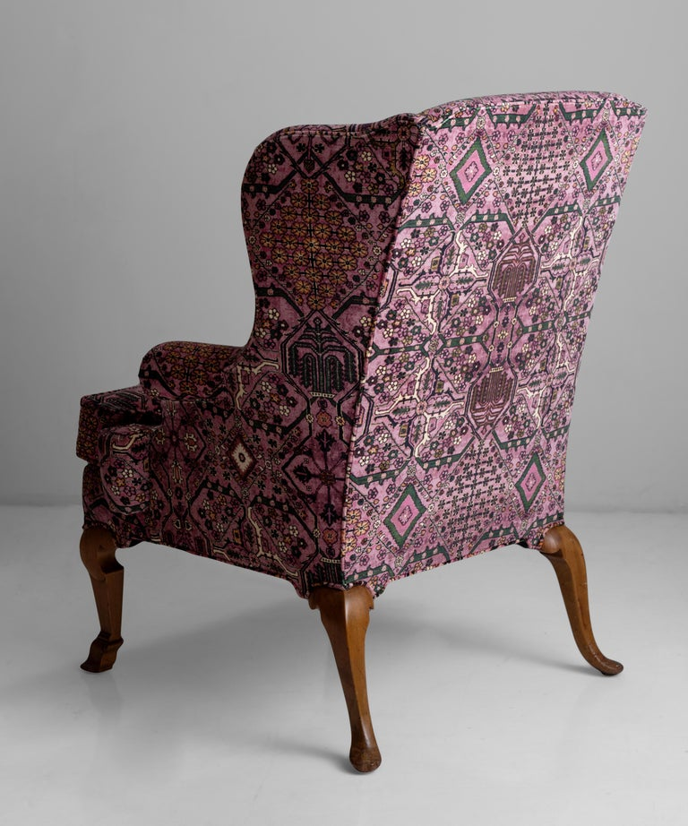 Walnut Wing Chair in 100% Cotton Velvet from House of Hackney For Sale 1