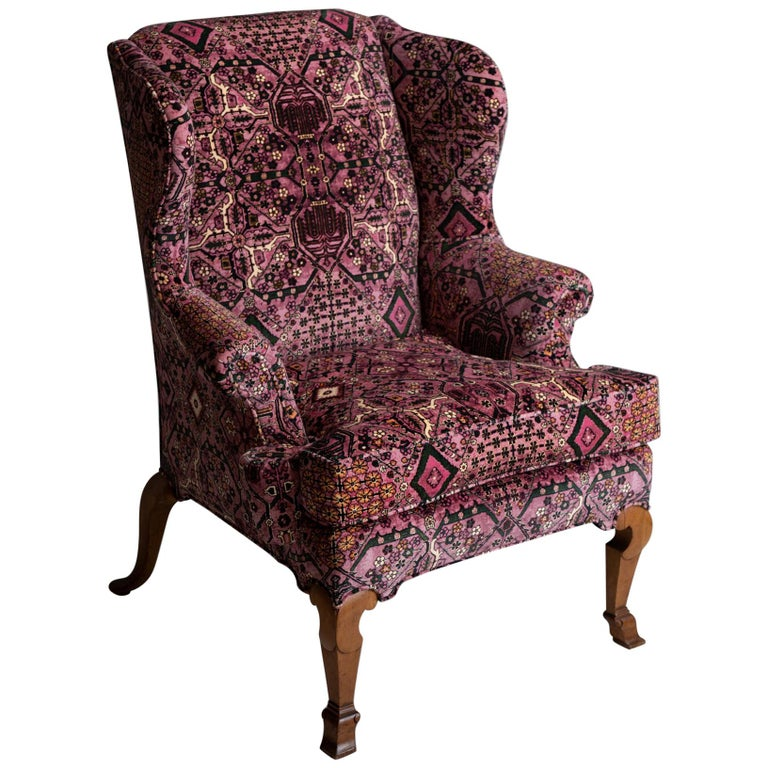 Walnut Wing Chair in 100% Cotton Velvet from House of Hackney For Sale