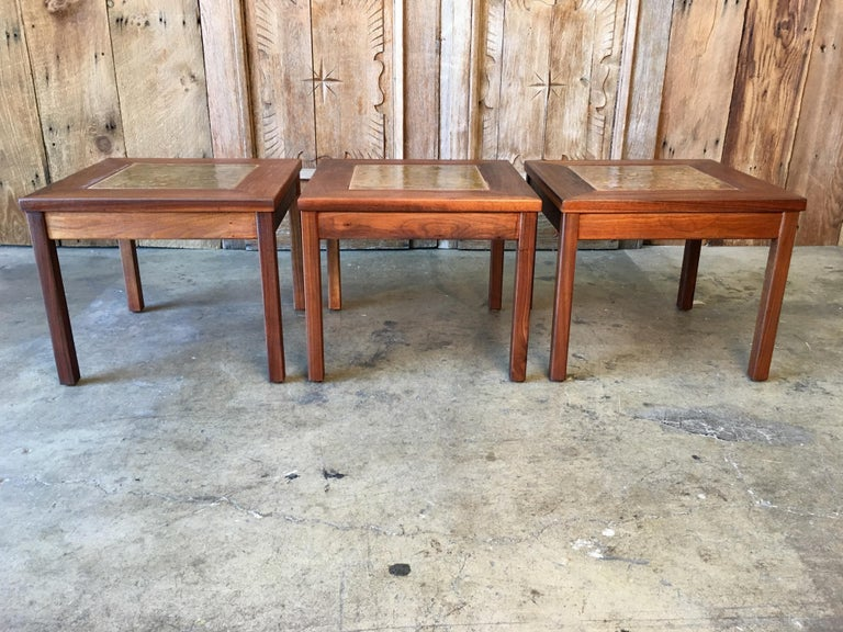 Walnut with Copper Tile Top Tables by John Keal for Brown Saltman For Sale 4