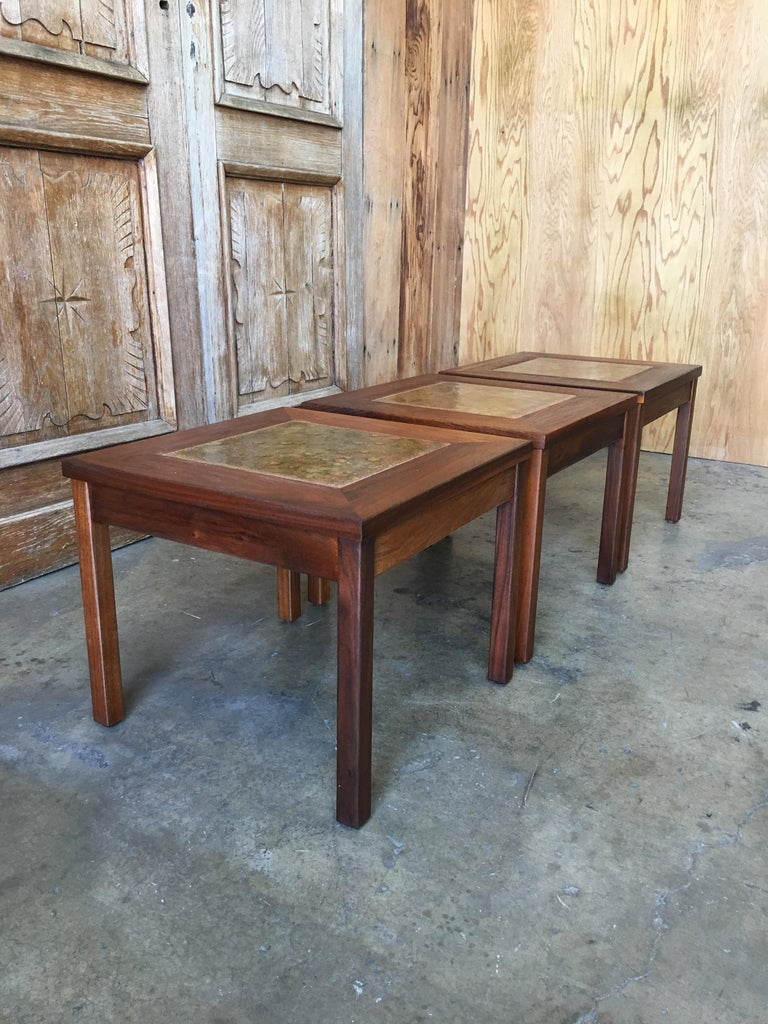 Walnut with Copper Tile Top Tables by John Keal for Brown Saltman For Sale 6