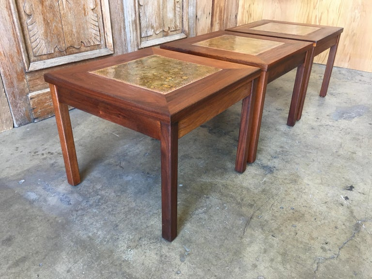 Walnut with Copper Tile Top Tables by John Keal for Brown Saltman For Sale 7