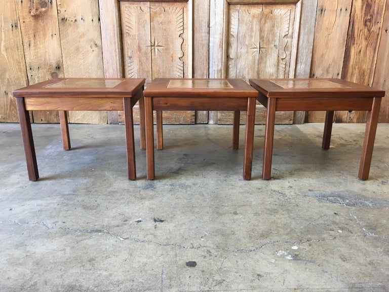 Walnut with Copper Tile Top Tables by John Keal for Brown Saltman For Sale 8