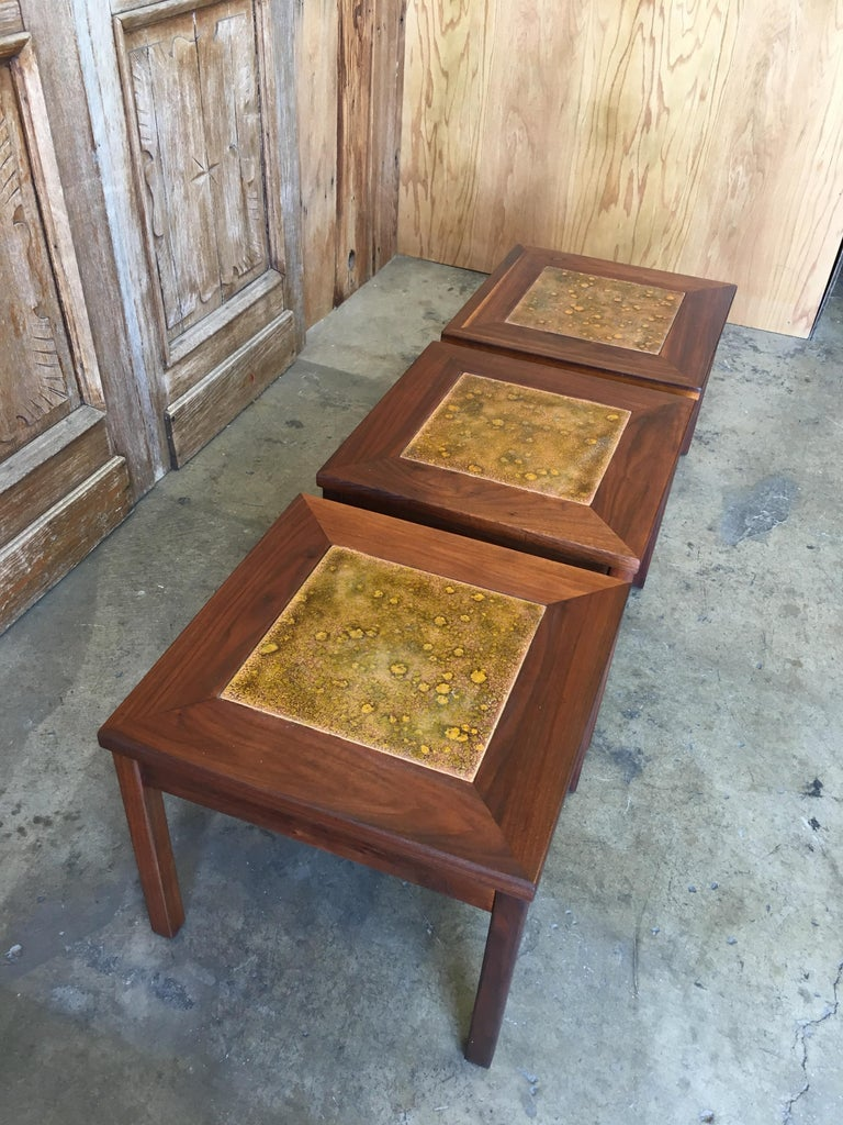 Walnut with Copper Tile Top Tables by John Keal for Brown Saltman For Sale 9