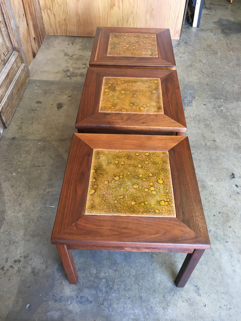 Walnut with Copper Tile Top Tables by John Keal for Brown Saltman For Sale 11