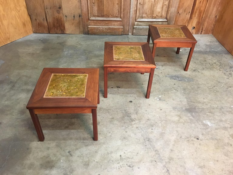 Walnut with Copper Tile Top Tables by John Keal for Brown Saltman For Sale 12