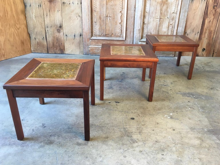 North American Walnut with Copper Tile Top Tables by John Keal for Brown Saltman For Sale