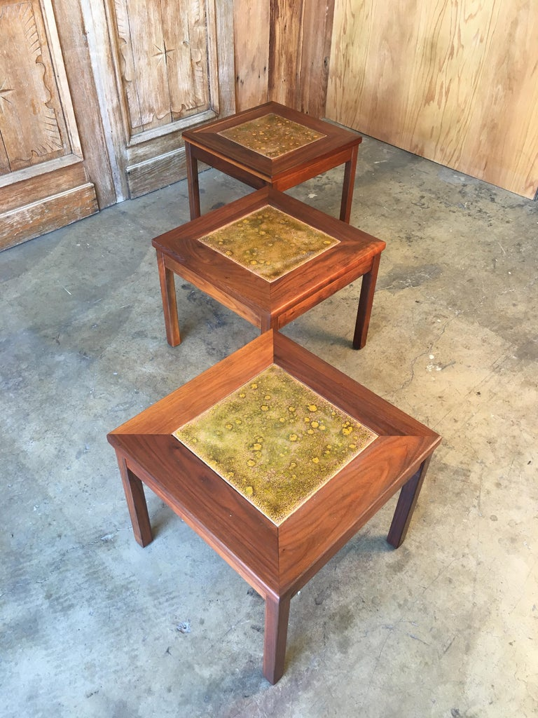 Walnut with Copper Tile Top Tables by John Keal for Brown Saltman In Good Condition For Sale In Laguna Hills, CA