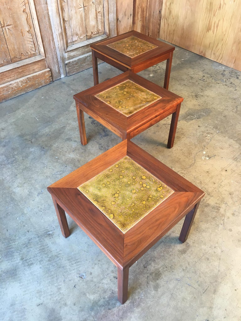 20th Century Walnut with Copper Tile Top Tables by John Keal for Brown Saltman For Sale