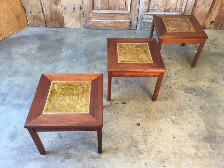 Walnut with Copper Tile Top Tables by John Keal for Brown Saltman For Sale 1