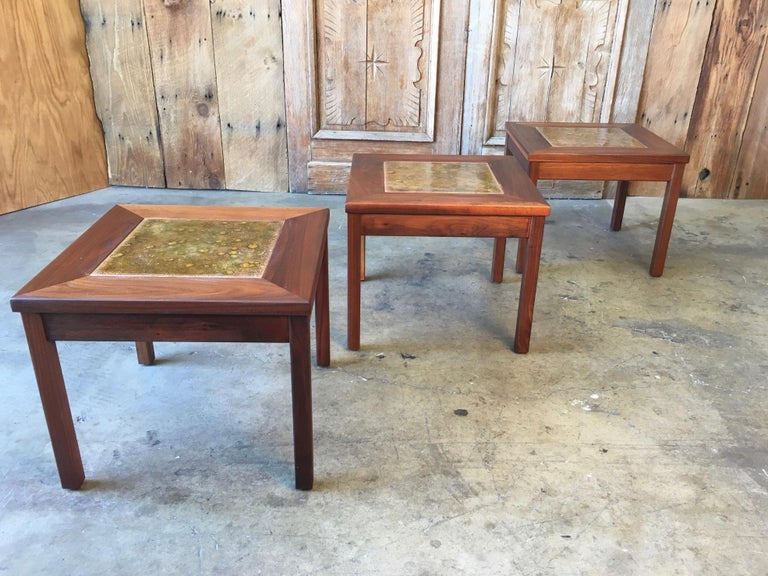 Walnut with Copper Tile Top Tables by John Keal for Brown Saltman For Sale 3