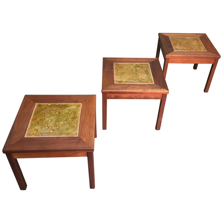 Walnut with Copper Tile Top Tables by John Keal for Brown Saltman For Sale