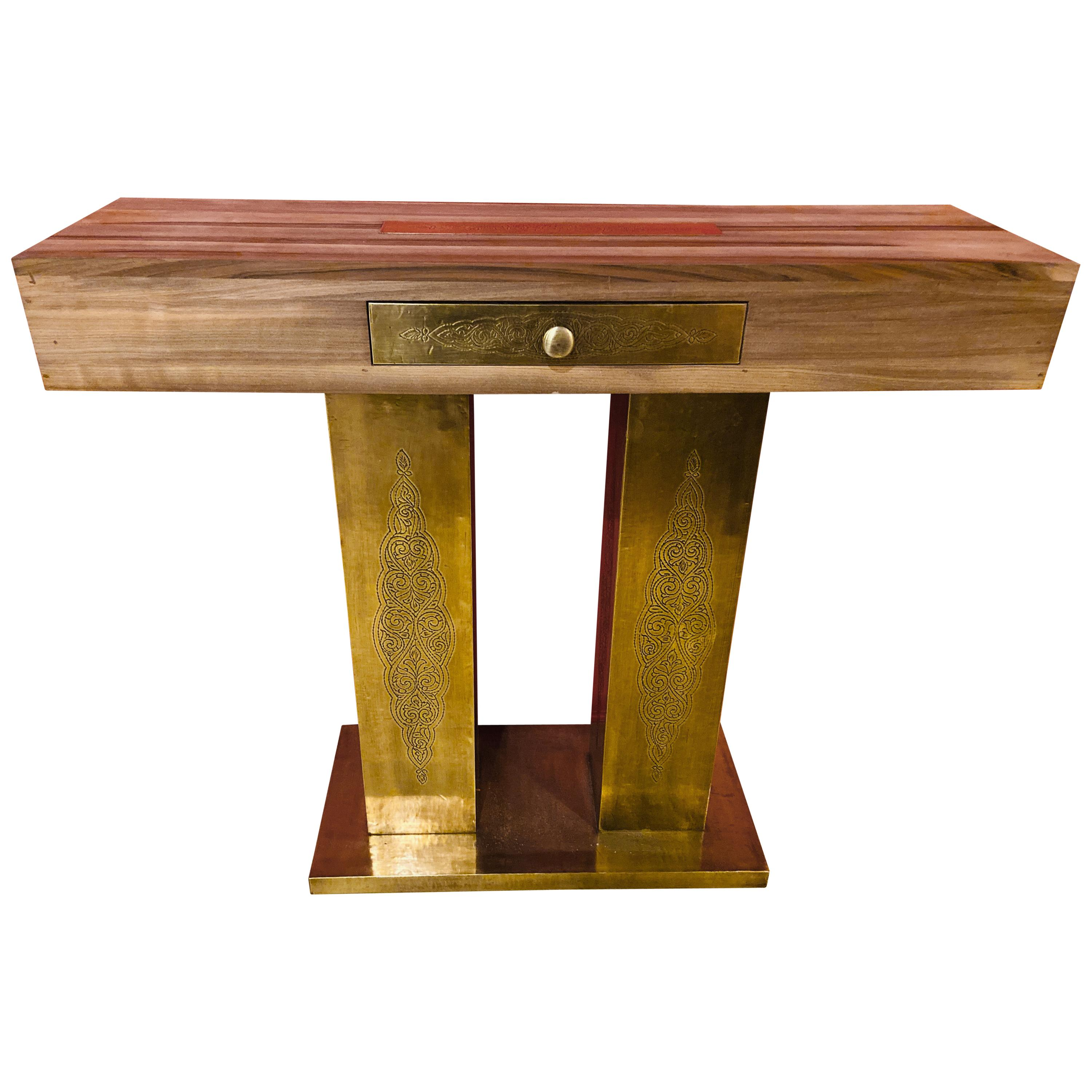 Hollywood Regency Style Console Table in Walnut and Brass