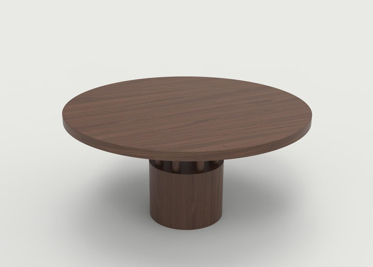 The Fulton dining table is the elder to our Benson coffee table - round top with carefully selected wood grain to feature the beauty of the species. The base and posts underneath give an artistic and exquisite look to a very functional