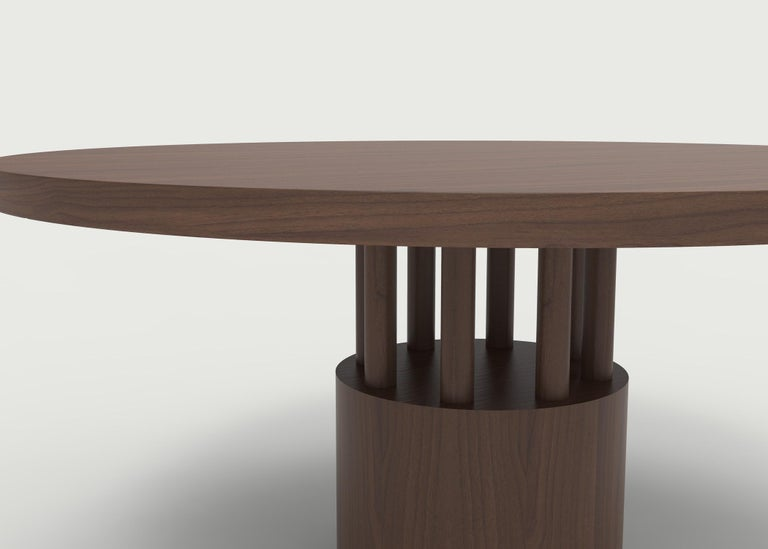 American Classical Walnut Wood Dining Table with Round Wood Base and Posts For Sale