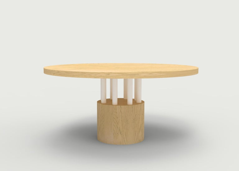 American Walnut Wood Dining Table with Round Wood Base and Posts For Sale