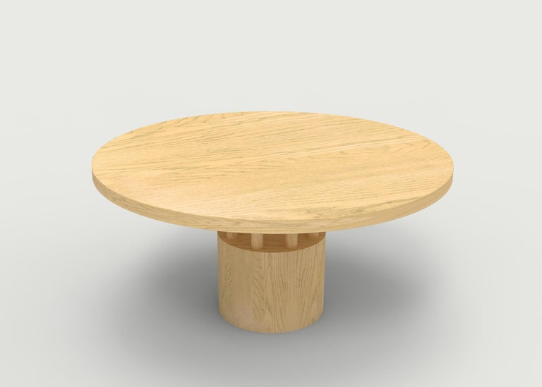 Walnut Wood Dining Table with Round Wood Base and Posts In New Condition For Sale In Brooklyn, NY