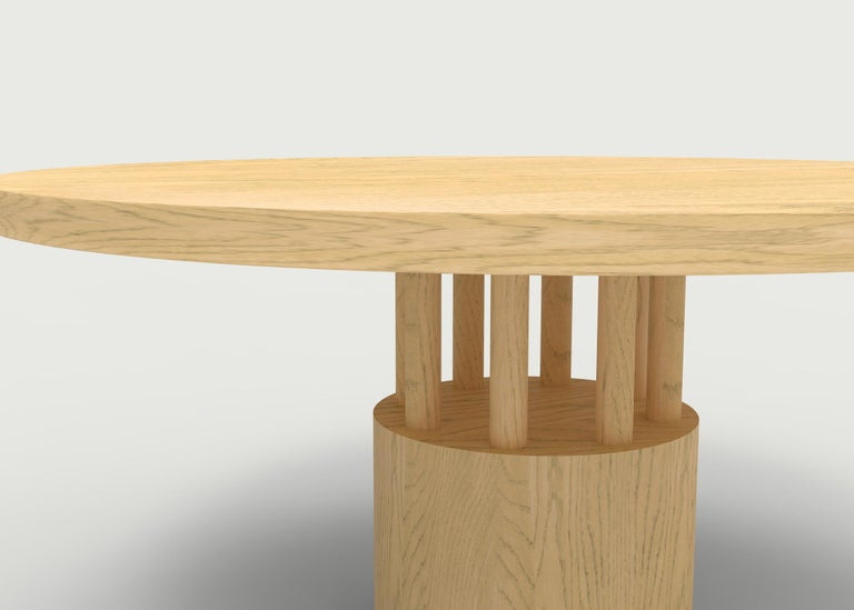 Contemporary Walnut Wood Dining Table with Round Wood Base and Posts For Sale