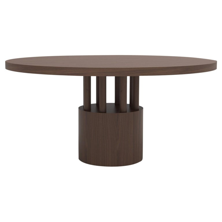 Walnut Wood Dining Table with Round Wood Base and Posts For Sale