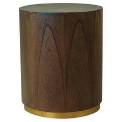 Walnut Wood Gold Detail Wave Ottoman