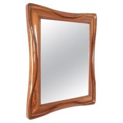 Walnut Wood Mirror, Midcentury, Italy