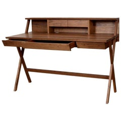 Walnut Writing Desk with Drawers, Made in Italy