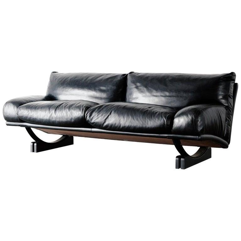 """Walse"" Black Leather Sofa by Tito Agnoli for Poltrona Frau, 1986 For Sale"