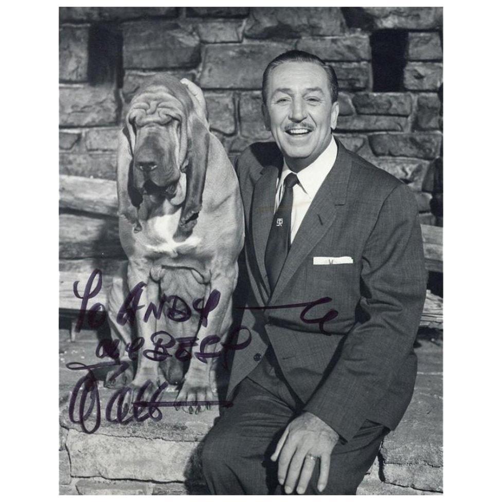Walt Disney and Dog Genuine Vintage Signed Photograph 1937 Black and White