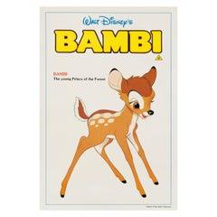 Walt Disney 'Bambi' Original Vintage British Double Crown Movie Poster, 1980