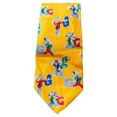 Walt Disney Iside vintage 100 % silk yellow tie with Pluto