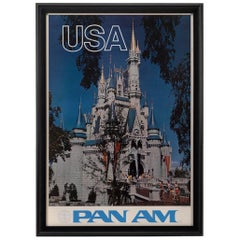 Vintage Walt Disney World Vintage Pan Am Travel Poster, circa 1970s