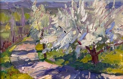 """Apodaca Apple Blossom,"" Oil Painting"