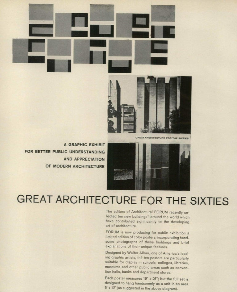Original Vintage Poster depicting Le Corbusier's Convent of La Tourette, published 1962 by the Architectural Forum to promote Modern Architecture – one of a series of ten posters in total. The posters were sent to subscribers only upon special order